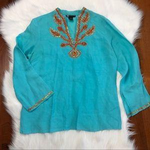 {Carole Little} Beaded Aqua Linen Tunic Top